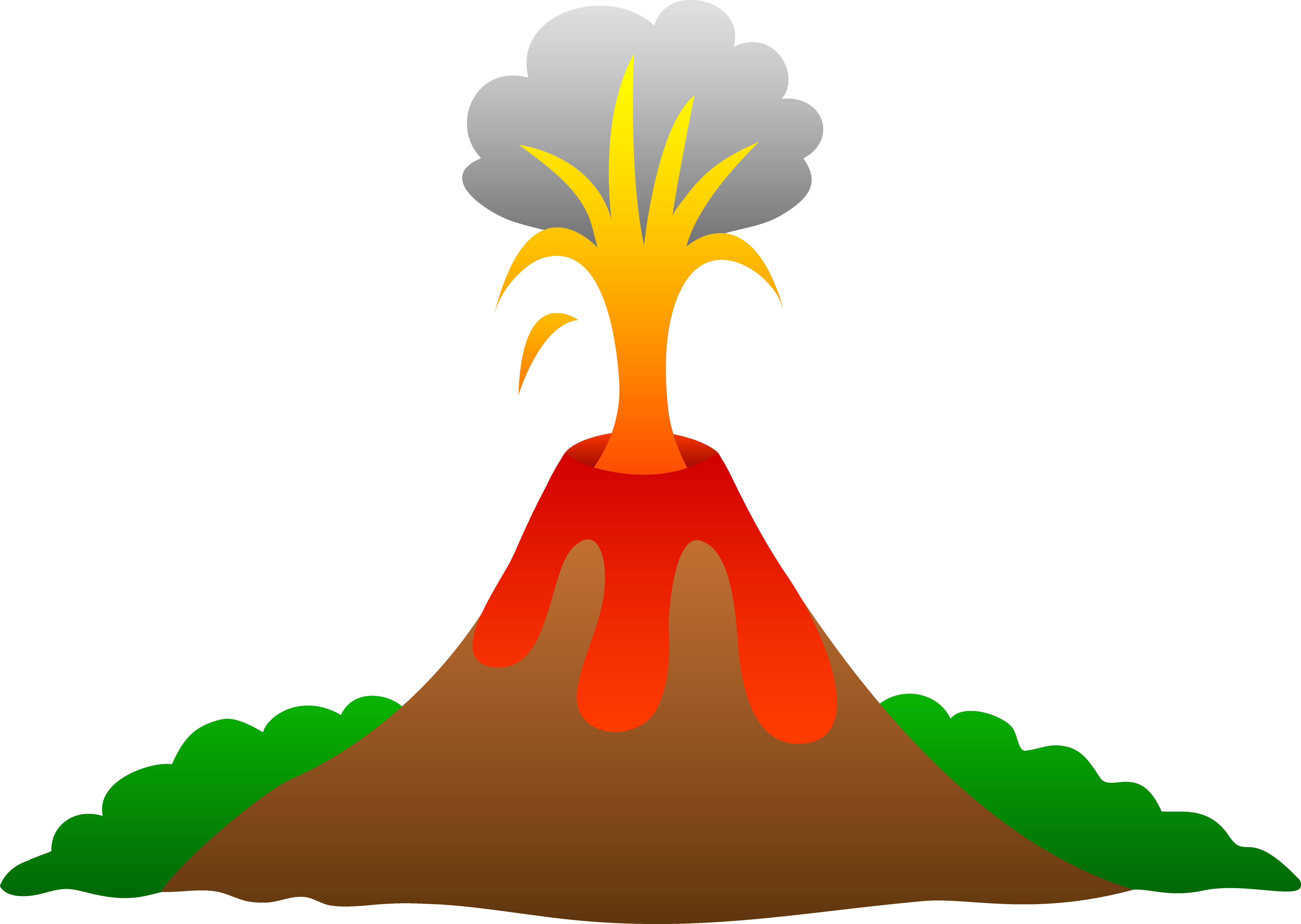 Valcaino clipart banner royalty free Volcano Erupting With Lava - Free Clip Art banner royalty free