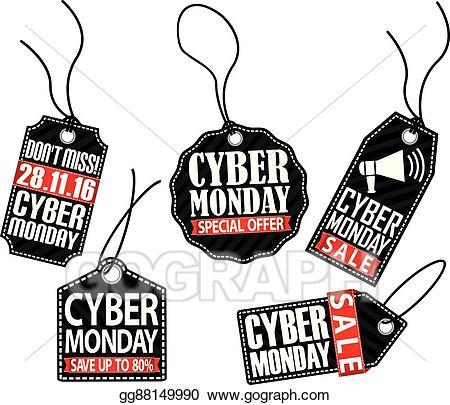 Cyber monday sale clipart clip black and white Vector Art - Cyber monday tag set, vector illustration. Clipart ... clip black and white