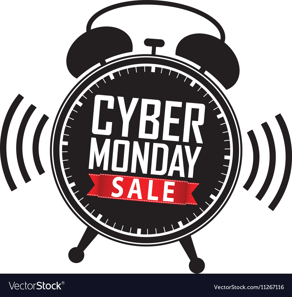 Cyber monday sale clipart download Cyber monday sale alarm clock black icon with red download