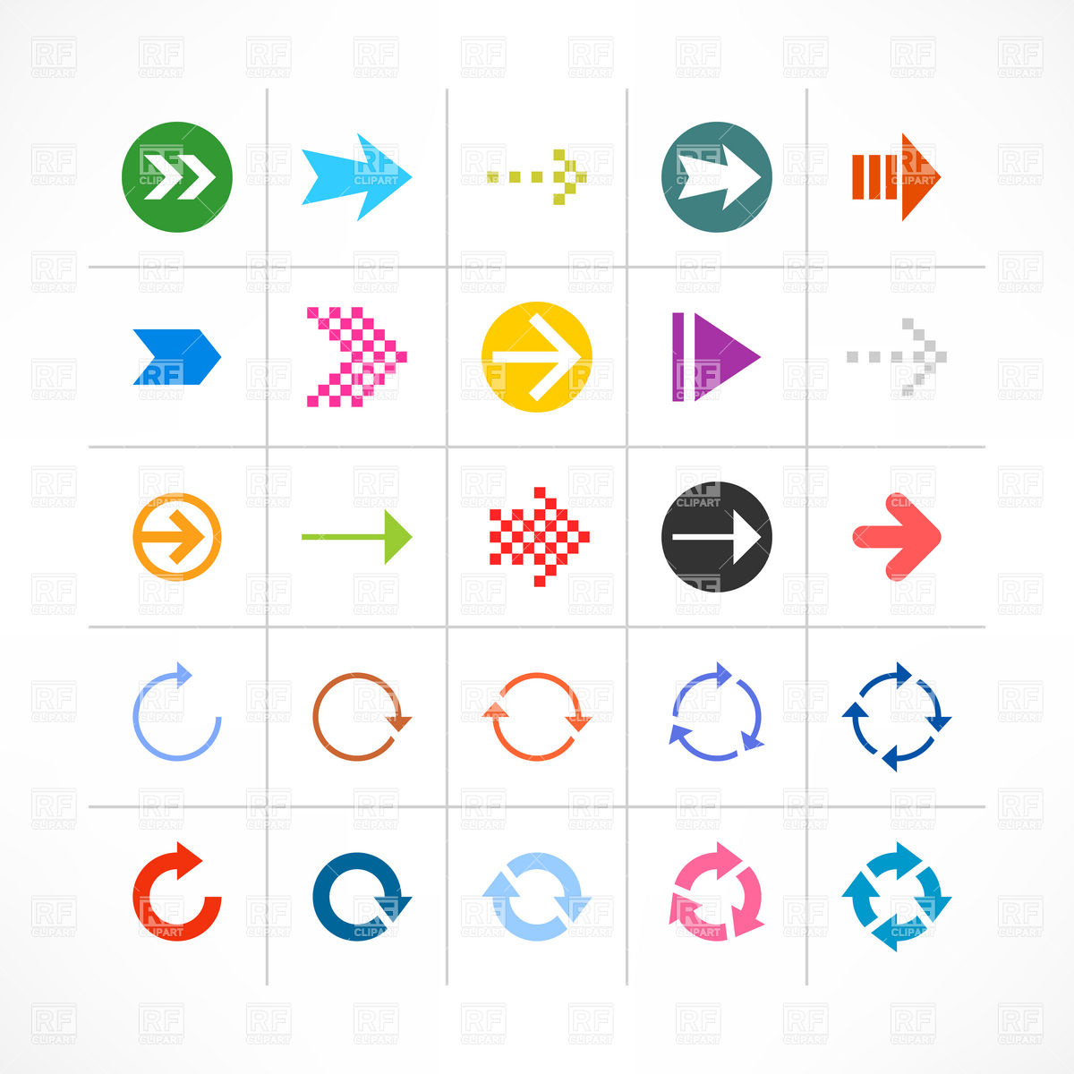 Cycle arrow clipart royalty free Set of simple straight and round cycle arrows Vector Image #13428 ... royalty free