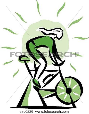 Cycle class clip art png library library Stock Illustration of A woman on a bike kle0278 - Search EPS Clip ... png library library