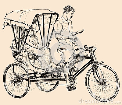 Cycle rickshaw clipart. Clipartfest stock illustrations