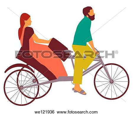 Cycle rickshaw clipart png black and white stock Stock Images of Woman riding a pedicab, India we121936 - Search ... png black and white stock