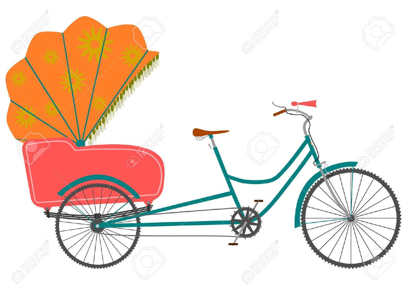 Clipartfest in a retro. Cycle rickshaw clipart