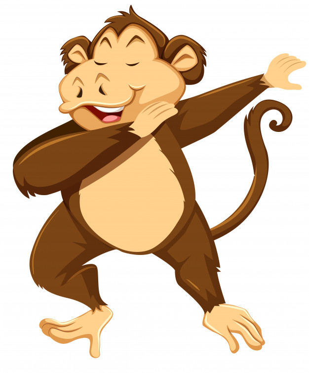 Dab vector clipart image library download A monkey dab on white background Vector | Premium Download image library download