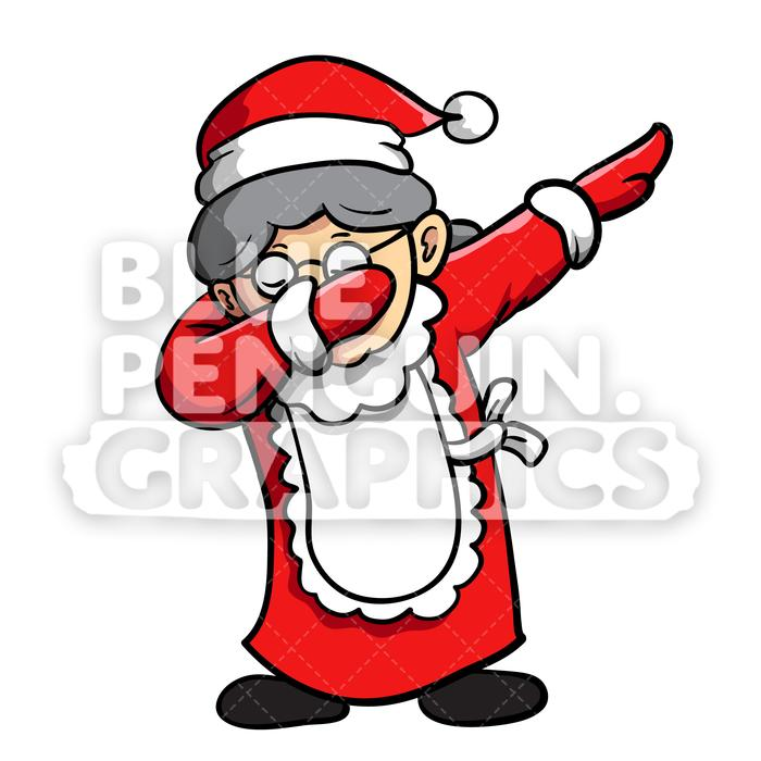 Mrs santa clipart banner freeuse Mrs Santa Dabbing Christmas Vector Cartoon Clipart Illustration banner freeuse