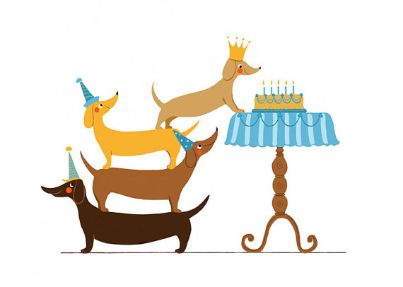 Dachshund birthday clipart image royalty free stock Dachshund Birthday Card for Dog Lovers or Kids | Dachshund ... image royalty free stock