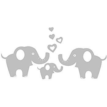 Dad and baby elephant clipart black and white svg black and white download Amazon.com: MAFENT 4 Cute Elephants Family Wall Decals Parents and ... svg black and white download