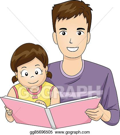 Dad reading book clipart clip black and white Vector Illustration - Family father read book kid girl. EPS Clipart ... clip black and white