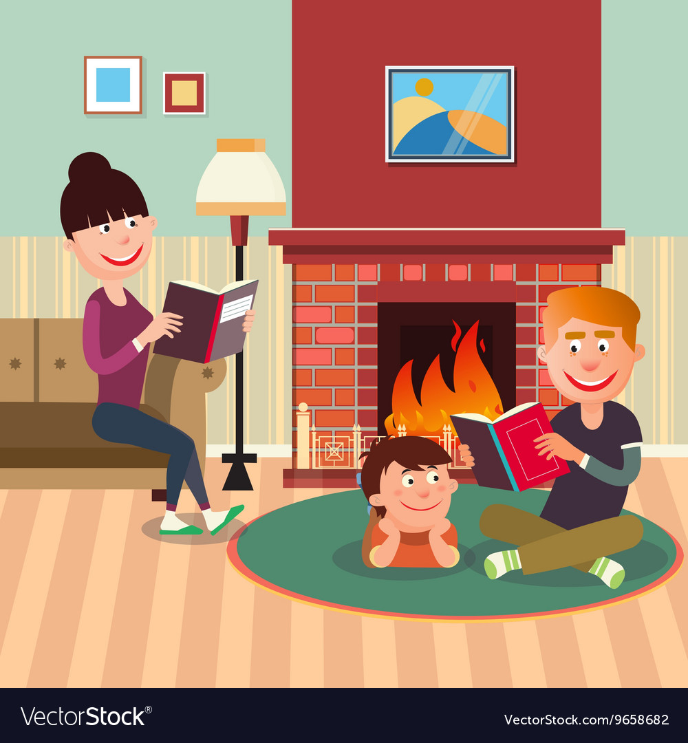 Dad reading book clipart picture black and white stock Father Reading Book to his Son near Fireplace picture black and white stock