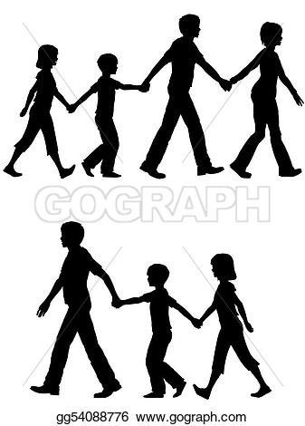 Dad with kids clipart clip royalty free stock Vector Stock - Casual family mom dad lead kids and dog on walk ... clip royalty free stock