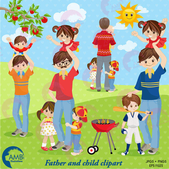 Dad with kids clipart clipart transparent stock Father's Day clipart, Family clipart, Daddy and Me Clipart, dad ... clipart transparent stock