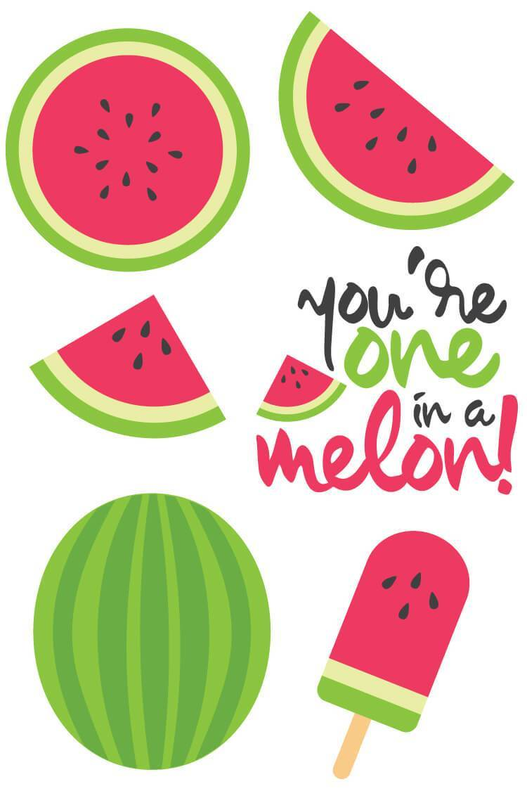 Dad you are one in a melon clipart clip free Watermelon Cut Files + Clip Art - Freebie Friday - Hey, Let\'s Make Stuff clip free