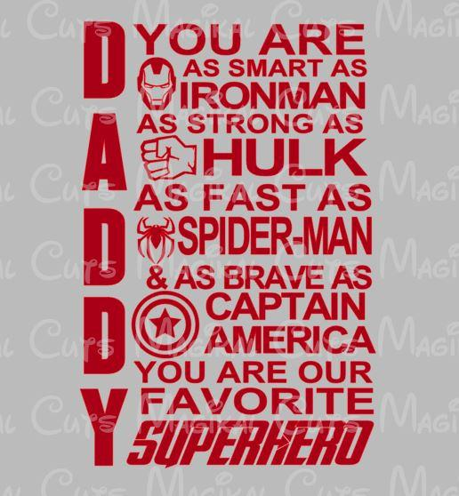 Daddy you are as smart as ironman clipart vector black and white library Marvel Daddy One Layer SVG, Studio, EPS, and JPEG Digital Downloads vector black and white library