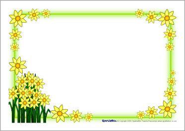 Daffodil border clipart clip art stock St David\'s Day daffodil A4 page borders (SB1248) - SparkleBox ... clip art stock