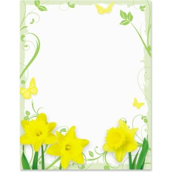 Daffodil border clipart clip art freeuse download Daffodil Delight Border Papers | Stationery | Borders for paper ... clip art freeuse download