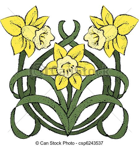 Vectors illustration of nouveau. Daffodil graphics
