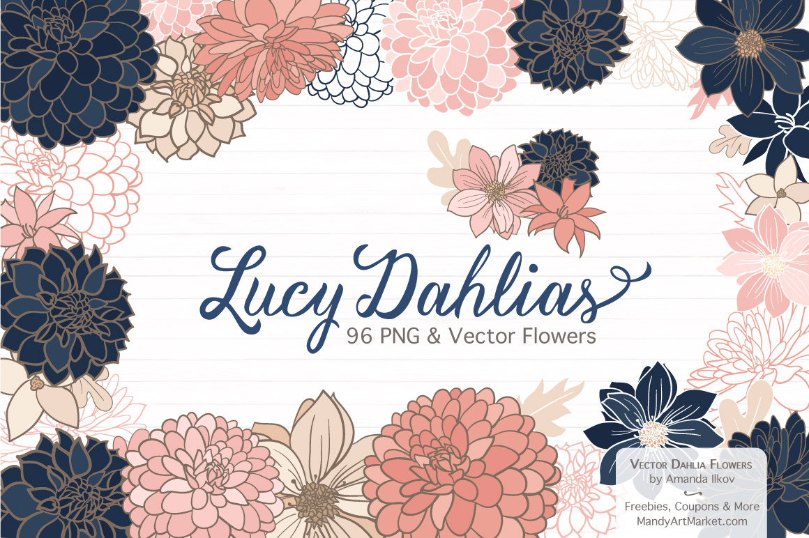 Dahlia clipart free graphic stock Free Dahlia Clipart in Navy & Blush - Mandy Art Market graphic stock