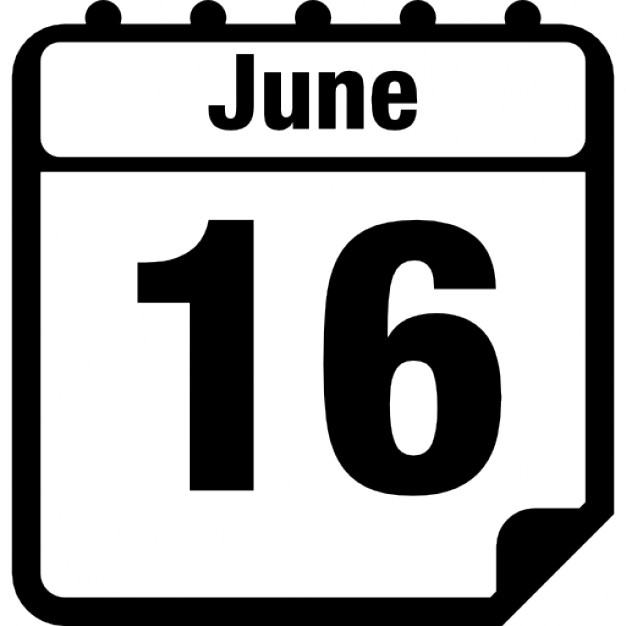 Daily calendar clip art graphic royalty free June 16 daily calendar page Icons | Free Download graphic royalty free