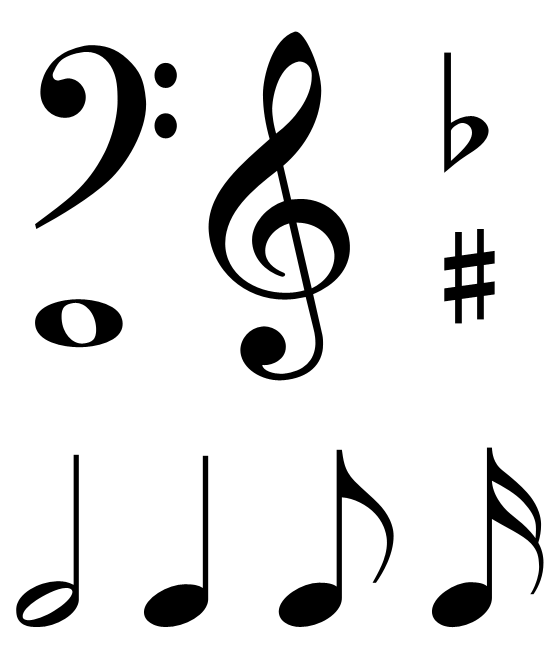 Music flat with eays clipart black and white download Free Clip Art - Music Notes & Symbols | Printables | Music note ... download