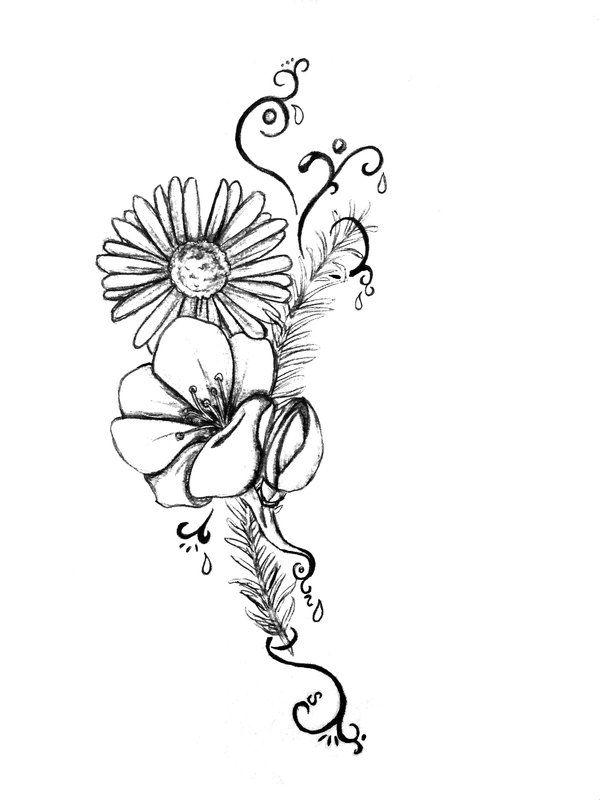 Daisy and sweet pea clipart black and white picture download daisy tattoo designs | Tattoo Flower by ~KuroiRyuu666 on deviantART ... picture download