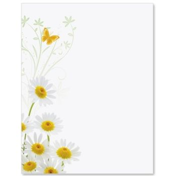 Daisy border clipart vector freeuse library White Daisies Border Papers | stationery | Borders for paper ... vector freeuse library