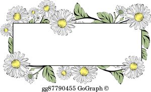 Clipart green and white and orange daisy border 70s clip download Daisy Border Clip Art - Royalty Free - GoGraph clip download