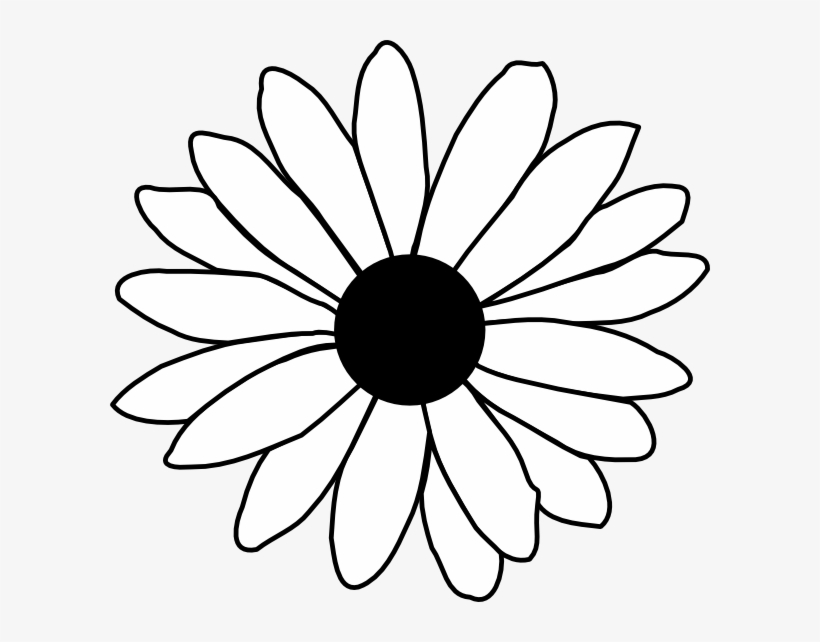 Clip art daisy black. Flower line drawing clipart free
