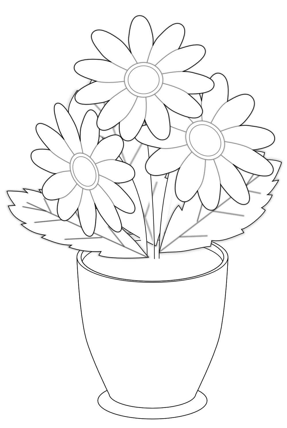 Flower clipart black and white picture black and white Flower Vases With Flowers Clipart | Free Download Clip Art | Free ... picture black and white