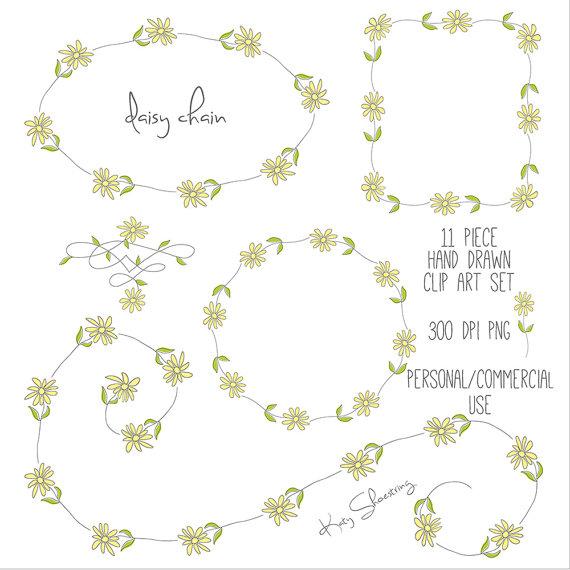 Daisy wreath clipart vector stock Hand Drawn Daisy Flowers Clip Art Set, Spring, Wreath, Bouquet ... vector stock
