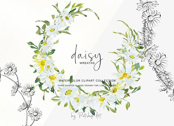 Daisy wreath clipart svg black and white stock Watercolor Daisy Wreath Clip Art svg black and white stock