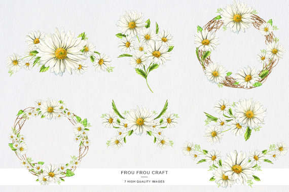 Daisy wreath clipart picture transparent download Daisy Clipart Stickers Scrapbooking, White Spring Clip Art, Paper ... picture transparent download