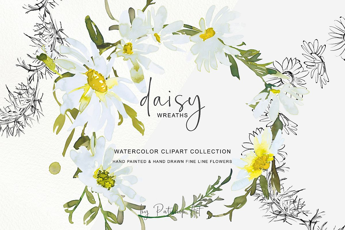 Daisy wreath clipart graphic royalty free stock Watercolor Daisy Wreath Clip Art graphic royalty free stock