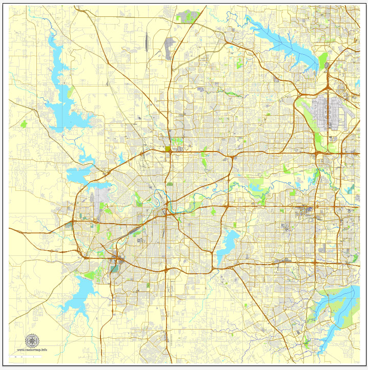 Dallas and fort worth on a clipart map jpg royalty free library Fort Worth, Texas, US printable vector street City Plan map V3.10, full  editable, Adobe PDF jpg royalty free library