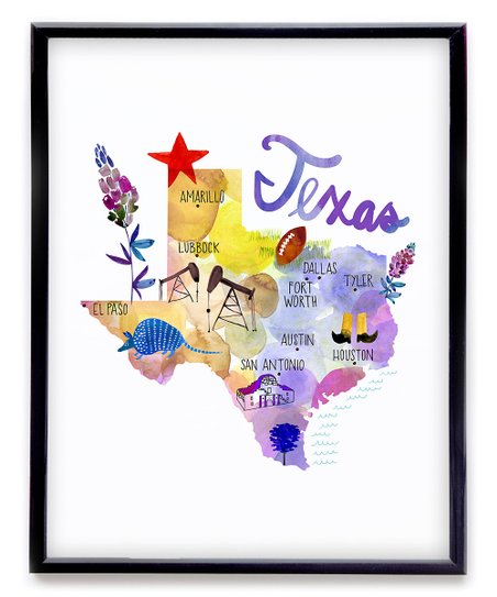 Dallas and fort worth on a clipart map graphic free stock Paper Loop Purple Texas Map Print graphic free stock