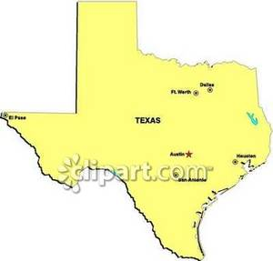 Dallas and fort worth on a clipart map clip library library Map of Texas Showing State Capital of Austin, and the Cities of El ... clip library library
