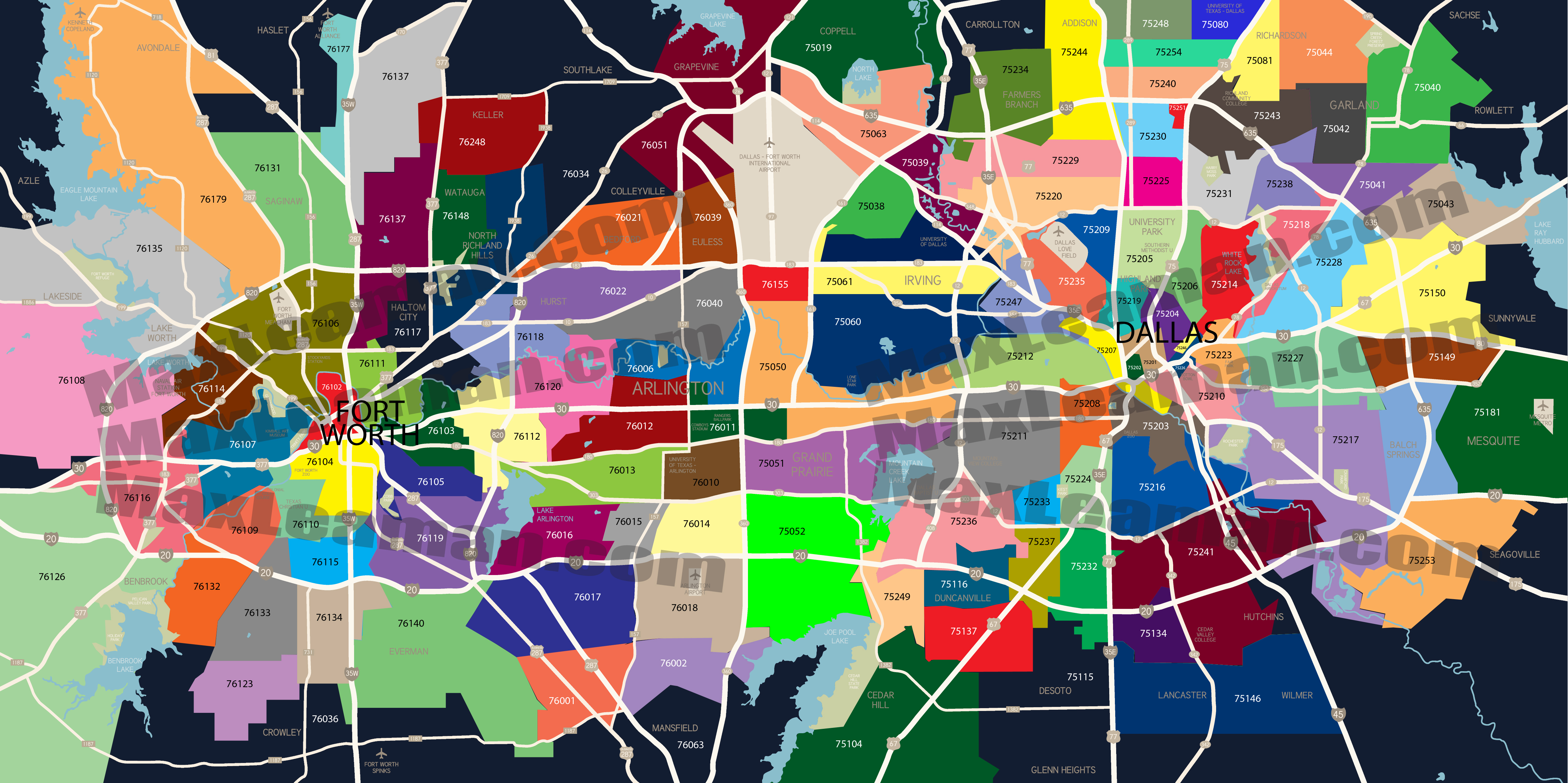 Dallas and fort worth texas on a clipart map picture royalty free stock Dallas Texas Zip Code Map Free | Business Ideas 2013 picture royalty free stock
