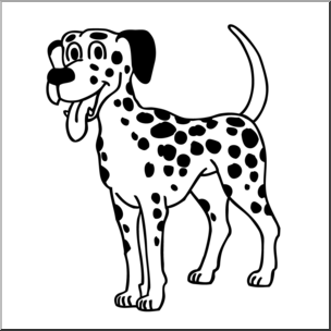 Dalmatian clipart black and white royalty free Clip Art: Cartoon Dalmatian Dog B&W I abcteach.com | abcteach royalty free