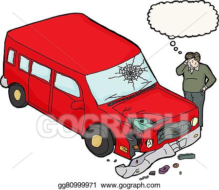 Damage car clipart graphic transparent download Vector Stock - Man looking damaged red car. Clipart Illustration ... graphic transparent download