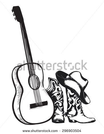 Dance line hat with draw string clipart black and white jpg Image result for guitar + cowboy hat drawing | Drawing Musical ... jpg
