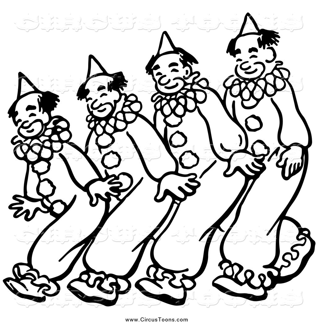 Dancing circus bear clipart black and white banner royalty free download Circus Clipart of a Black and White Clowns Dancing by Picsburg - #1387 banner royalty free download
