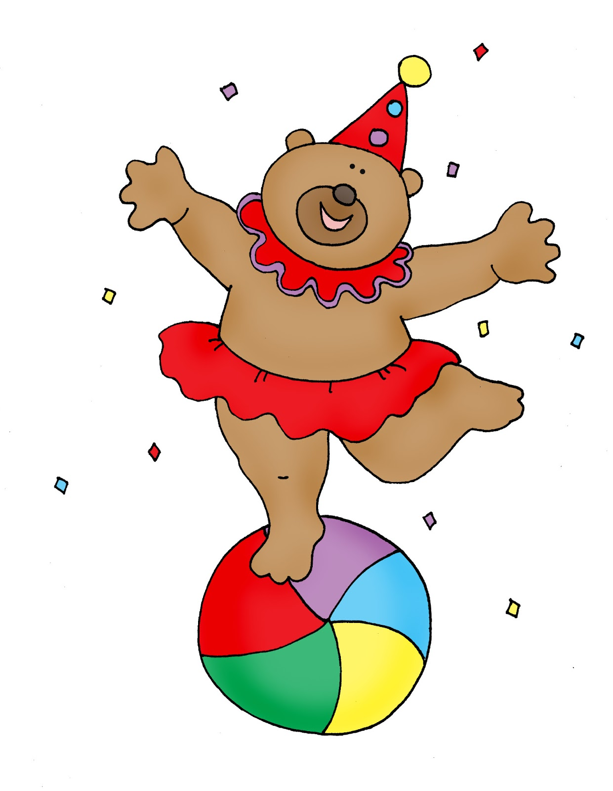 Dancing circus bear clipart black and white clip Free Dearie Dolls Digi Stamps: Dancing Circus Bear color and B/W clip