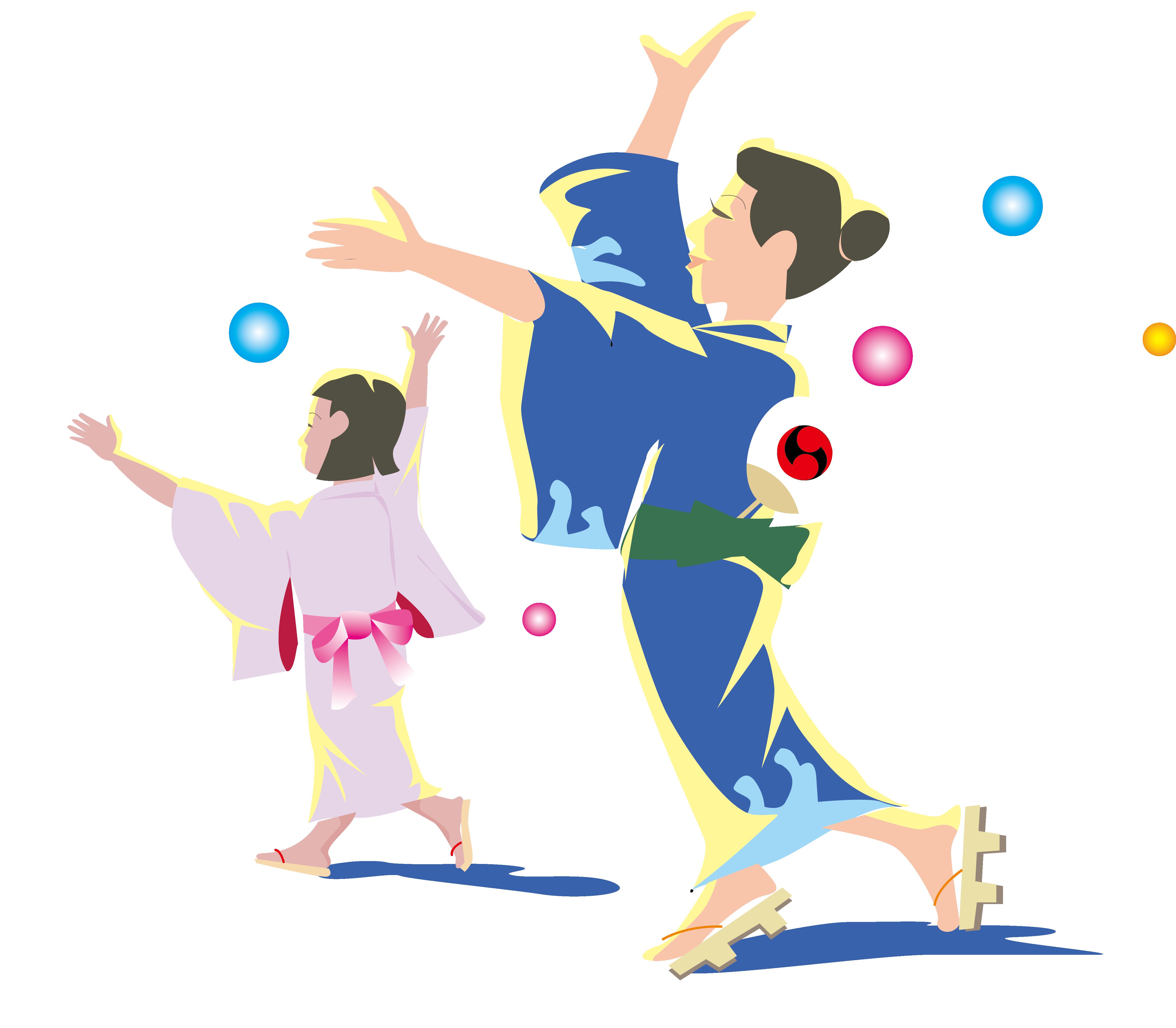 Dancing hot dog clipart svg black and white stock Japan Dance Clip art - Japanese kimono dancing mother and daughter ... svg black and white stock