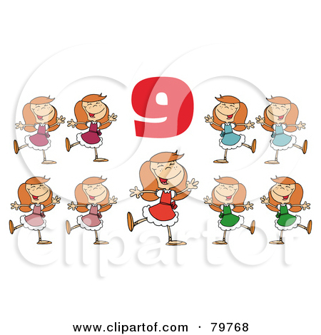 Dancing number 1 clipart. Royalty free rf nine