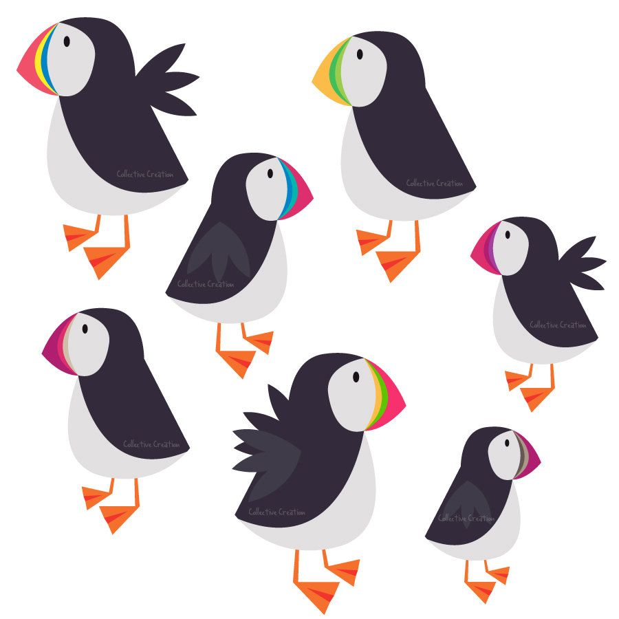 Dancing puffin clipart png royalty free download Rainbow Puffin Digital Clipart - Personal and Commercial Use ... png royalty free download