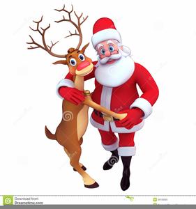 Santa reindeer clipart free