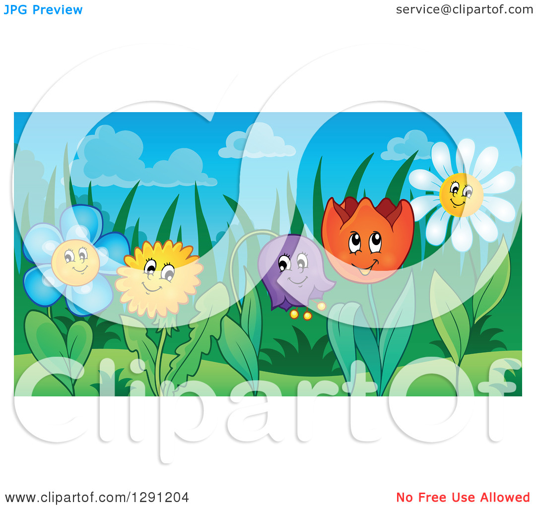 Dandelion cartoon character clipart clip free Clipart of Happy Dandelion, Daisy, Bell, and Tulip Flower ... clip free