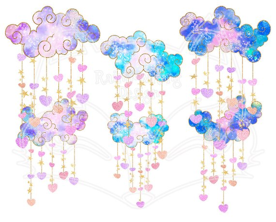 Dangling clipart clipart free Pastel Clouds Hearts Clipart , Dangling Clipart , Heart ... clipart free