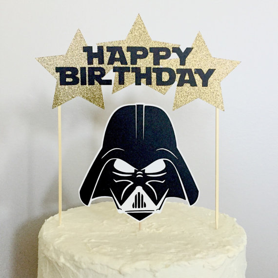 Darth vader using the force on a birthday cake clipart banner library stock Star Wars Character Happy Birthday Cake Topper by CrushOccasions ... banner library stock