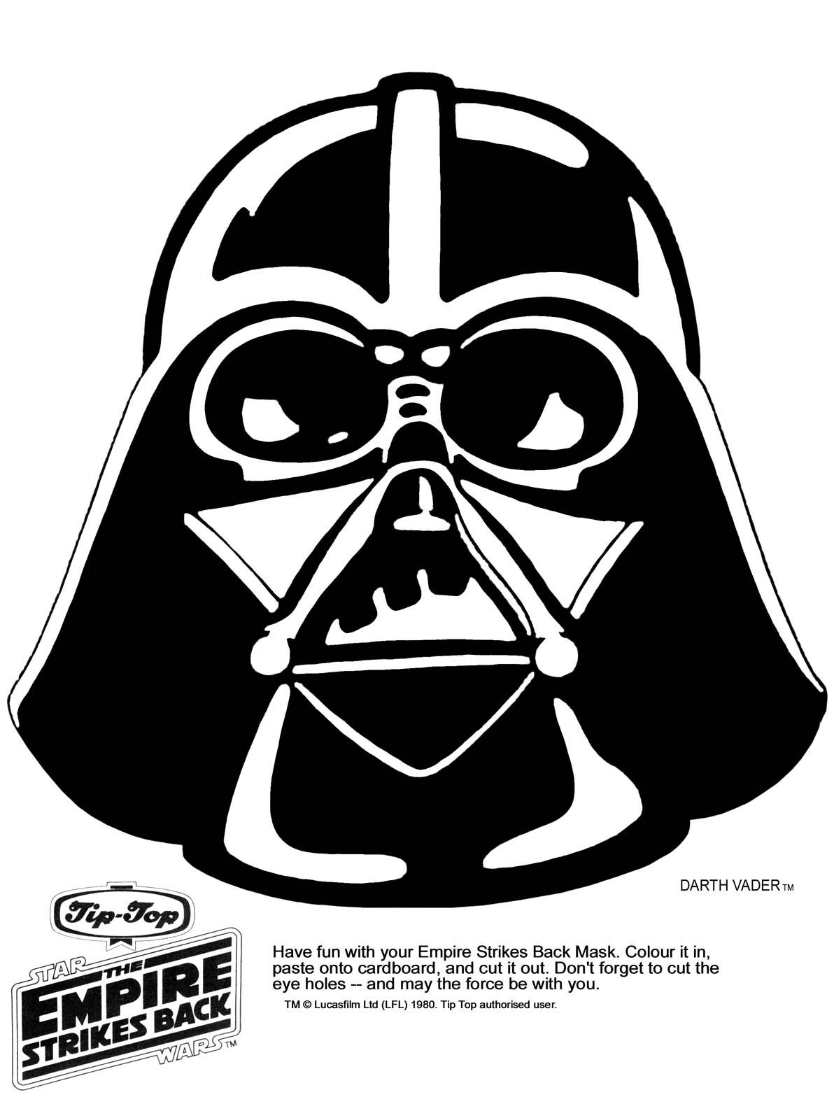 Darth vader using the force on a birthday cake clipart graphic black and white download mask printable | Click the picture for the Darth Vader Mask in high ... graphic black and white download